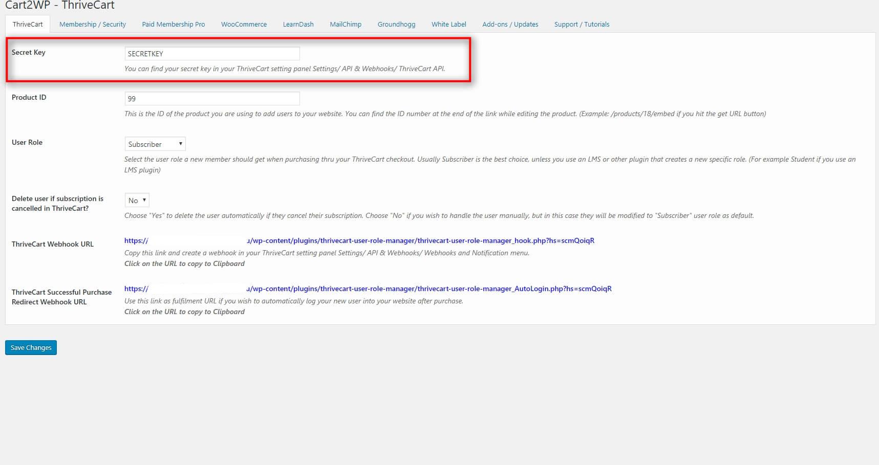Cart2wp Thrivecart To WordPress Integration V3 Tc Settings 1