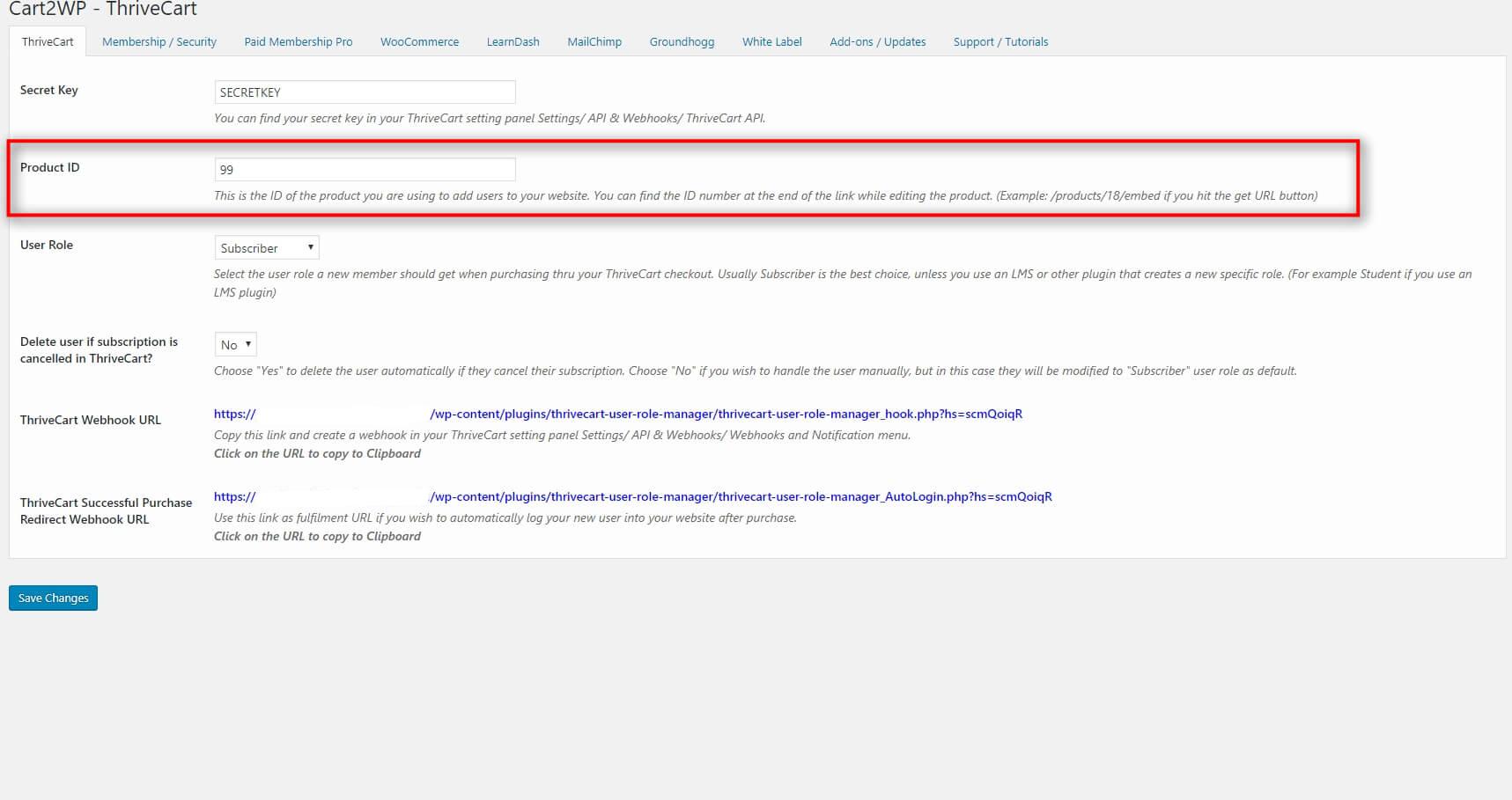 Cart2wp Thrivecart To WordPress Integration V3 Tc Settings 2