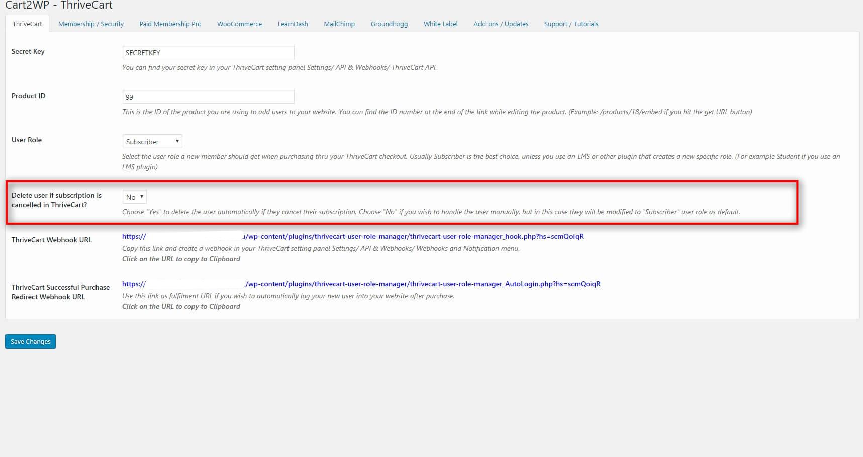 Cart2wp Thrivecart To WordPress Integration V3 Tc Settings 4