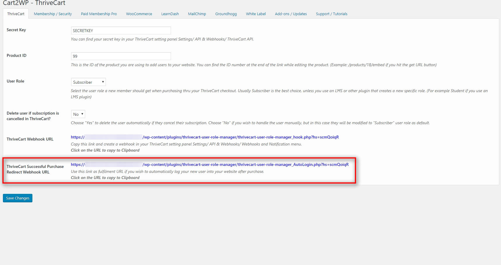 Cart2wp Thrivecart To WordPress Integration V3 Tc Settings 6